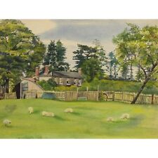 The Vicarage Sheep Rare Antique Watercolour Landscape Painting Fairfax Muckley