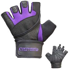 Contraband Pink Label 5737 Womens Wrist Wrap Weight Lifting Gloves (PAIR)
