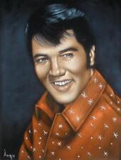 Young Elvis Presley Velvet Elvis the king black velvet oil painting signed art