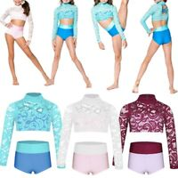 Girls Sports Dance Outfit 2PCS Gymnastics Ballet Crop Tops+Bottoms Set Dancewear