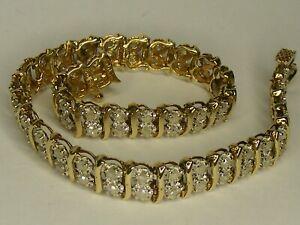 DIAMOND & 9 CARAT GOLD DOUBLE ROW TENNIS BRACELET, 1.482CT