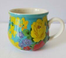 The Pioneer Woman Teal Pot Belly Garden Meadow Flower Mug RARE