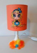 lampe de chevet  creacat   peint main thème Alice fille manga plume  fleur
