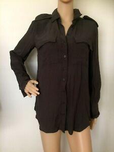 BARDOT Grey Thin Soft Viscose Button Up Loose Long top Size 8