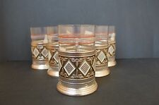 Vintage Russian Tea Glass Cup Holders Set of Six Including Original Glasses 70s