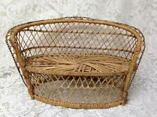 Vintage, Handcrafted, 16in x10in x7.5in  Wicker Dolls Sofa