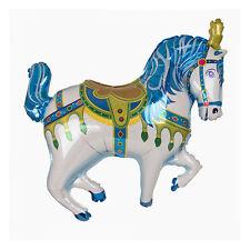 """CIRCO Pony Carousel Horse Blu SUPERSHAPE PALLONCINO FOIL BALLOON parte 29"""""""