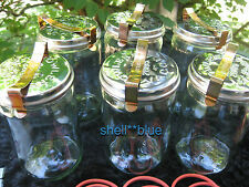 SET OF SIX  Fowlers Vacola  STAINLESS LID Preserving Jars #31 COMPLETE RING CLIP