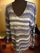 ReferencePoint V-Neck Ramie Sweater PullOn Long Sleeves MultiBluesStriped Sz M