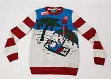 New Men's Ugly Christmas Sweater Stripes Light Up Palm Tree Santa Small S