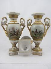 """Royal Piedra De Porcelana China Floreros de 9 """"par escenas de caza"""