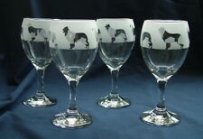More details for border collie dog wine glasses classic set of four