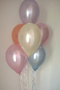30 Pearlised Vintage Coloured Balloons (Helium Quality) With Curling Ribbon