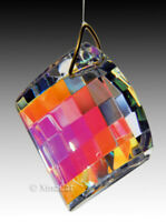 Checkerboard 40mm Prism Faceted Austrian Crystal Clear AB SunCatcher 1-1/2""