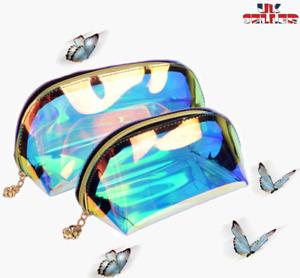 UK Laser Purse Pencil Case Makeup Bag Pouch Holographic Hologram Metallic Color