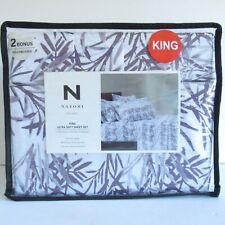 New Natori King Sheet Set White Purple Bamboo Print Floral Ultra Soft Modern