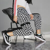 Black White Checkered Pants For Women Hip Hop Loose Trousers England