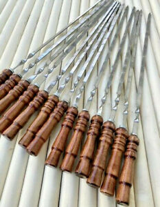 set of 10 stainless steel skewers barbecue, tandoor, grill barbecue new