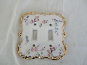 Vintage Porcelain Double Switch Plate Japan Pink Blue Purple Floral Gold Trim