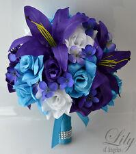 17pcs Wedding Bridal Bouquet Set Silk Flower Decoration Package TURQUOISE PURPLE