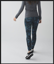 Lululemon floral backdrop blue denim speed tights CAN 2 AU 6