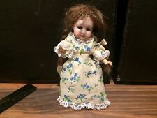 """RARE Antique Bisque Head Doll Gebruder Heubach 6 3/4"""" with dress and human hair"""