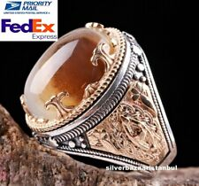 Natural Stone Yemeni Agate Aqeeq Turkish 925 Sterling Silver Mens  Ring ALL SÄ°ZE