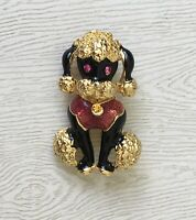 Adorable Vintage Poodle dog brooch enamel gold tone metal