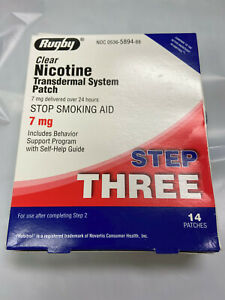 *14 Rugby Clear Nicotine Transdermal System Patch STEP THREE 7 mg Free Shipping!