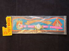 """VINTAGE JAPANESE TOY CINDERELLA WATCH MADE IN JAPAN PINK AND GOLD 6"""" NEW Old Stc"""