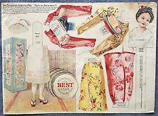4 paper dolls advertising Pillsbury uncut Japanese Dutch + cut Victorian Forbes