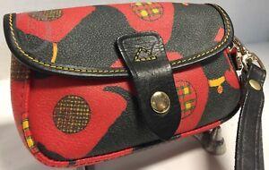 Dooney & Bourke*RED*Scottie Dog Flap Wristlet 18098B S167A