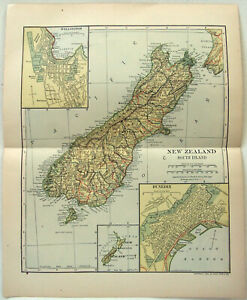 Original 1910 Map of New Zealand - South Island by Dodd Mead & Company. Antique