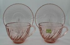 Arcoroc Pink Swirl Rosaline 2-Cups and 2-Saucers - Set of 2 France
