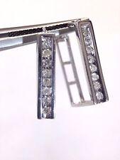 NEW Unique   14K White Gold Diamond .48CTW Diamond Rectangular Hoop Earrings