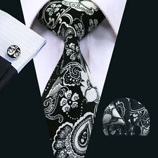 SN-1375 Black White Floral Mens Tie Cotton Necktie Cufflinks and hanky Wedding