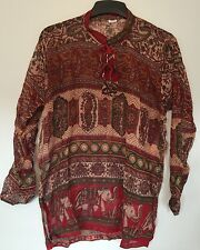 "bust40"" 100% COTTON Indian KURTI VINTAGE LOOK TOP BLOUSE hippy blusa dress TUNIC"