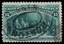 STUNNING GENUINE SCOTT #238 USED 15¢ COLUMBIAN BOSTON SCV $82 - PRICED TO SELL