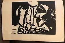 VINTAGE EMIL NOLDE WOODCUT PRINT 1947 ,RUDOLF HOFFMANN ,BLOCK 19 ,man and woman