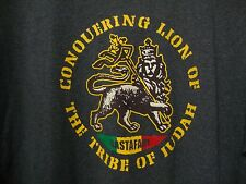 Rastafarian Lion of Judah Men's XL T-shirt Rasta Roots Reggae Dark Heather Gray