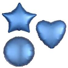 AZURE HEART STAR CIRCLE FOIL SATIN LUXE BLUE BALLOON DECORATOR BIRTHDAY BALLOONS