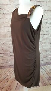 Michael Kors Brown Draping Toga Style Dress Soft Flowy Stretch Size L