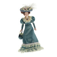 1/12 Doll House Miniature Porcelain Doll Classical Victorian Lady with Hat