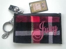 Juicy Couture Zip Coin Purse W/ Key Ring Red Black Plaid Leather Trim New! NWT