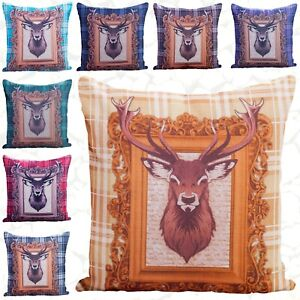 """Tartan Stag Check Cushion Cover 18 x 18"""" Pillow Covers For Sofa Home Bedroom"""