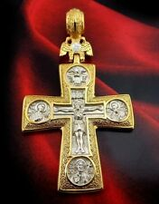 "Double Headed Eagle EC Cross 2"" Gold P 925 Silver Virgin Kazan All Saint Medal"