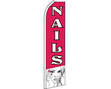Nails Pink / White Swooper Super Feather Advertising Flag