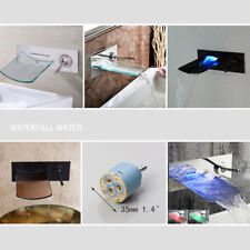Waterfall Flat Spout Wall Mount Single Lever LED Basin Bathtub Mixer Faucet Taps