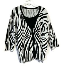 JM Collection Sweater Plus Size 3X Layered Look Zebra Print