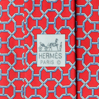 100% Auth HERMES TIE Silk Mens Classic H GEOMETRIC Pattern 5187
